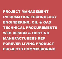 PROJECT MANAGEMENT INFORMATION TECHNOLOGY ENGINEERING, OIL & GAS TECHNICAL PROCUREMENTS WEB DESIGN & HOSTING MANUFACTURERS REP FOREVER LIVING PRODUCT PROJECTS COMMISSIONING